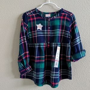 NWT Jumping Beans (Kohl's) Blue & Green Flannel 5T